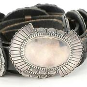 Important Signed Navajo David Reeves Sterling Silver Concho Belt 10 Conchos