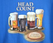 Tommy Bahama Men's T-shirt Size Xl Blue Knit Pullover Head Count Beers Brew Ale