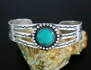 Vintage Fred Harvey Sterling Silver Turquoise Stamped Cuff Bracelet 1940and039s S6.5