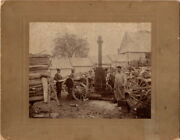 Antique Huge Cabinet Photo, Horse Drawn Portable Steam Powered Fire Wood Saw