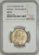 1913a Germany 2 Mark Prussia - Silver Jubilee Ms67 Ngc 942947-2