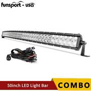 Curved 50inch 700w Led Light Bar Spot Flood Combo Roof Driving Rzr Suv 4wd 52and039and039