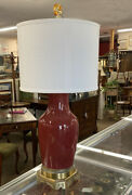 Antique Chinese Oxblood Lamp On Bronze Base With Silk Shade Table Reading Light