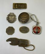 Coca-cola Coke Tokens Money Clip Spinner Badge Watch Fob. Key Chain Lot Of 7