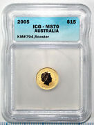 2005 15 Australia Lunar Series 1 Rooster 1/10 Oz Pure Gold Icg Ms70