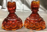 2 Moon And Star Ruby Red Carnival Glass Candlesticks Candle Holder