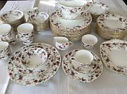 Minton Bone China Ancestral Early Globe 76 Pc Dinner Set And Serving. England