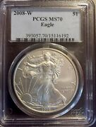 2008-w Silver American Eagle Pcgs Ms70 The Best