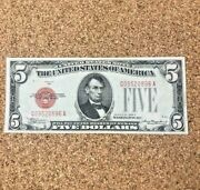 1928 C 5 Bill Red Label Us Legal Tender Uncirculated Exceptional S-81