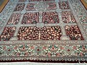 9and039 X 12and039 New Sino Chinese Oriental Rug - Wool And Silk - Burgundy - Hand Made