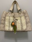 Dolce And Gabbana Cream Leather And Snakeskin Tote With Silver Hardware