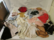 Large Lot Of Vintage Handmade Clothes In Metal Poodle Toy Trunk For 14-16 Doll