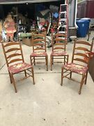 Four Antique Country Brown Ladderback Farmhouse Cushioned Dining Chairs