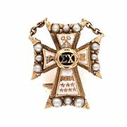 14k Yellow Gold Sigma Chi Cross Badge Brooch Pin 2.8g Enamel And Seed Pearls