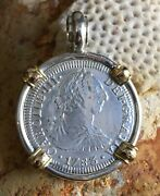 El Cazador Shipwreck Treasure Coin Pirate Ss Pendant With 14k Solid Authentic 2r