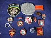 E2-11 Russian Fire Department Medals / Badges / Pins And Patch Lot -soviet Union