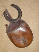 Ww1 Cavalry Adjustable Horseshoe And Nails In Leather Saddle Travelling Pouch.