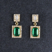 Solid 14k Yellow Gold Natural Green Emerald Diamond Gemstone Engagement Earrings