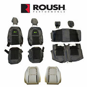 2012-2014 Mustang Convertible Roush Rs3 Front Rear Seat Upholstery Black And Green