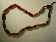 Rare Antique Carnelian Agate African Trade Beads Faceted Cylinder 26 Necklace