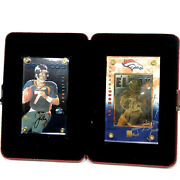 2 1998 24k Gold Nfl Collectible John Elway Cards Limited Edition 89/750 In Case