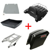 5 Extended Saddlebags Chopped Trunk Rack Plate Fit For Harley Road King 14-20