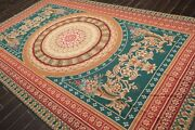 7and0394 X 12and0393 Asmara Hand Woven Wool French Aubusson Needlepoint Area Rug Teal