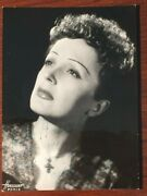 Edith Piaf Signed Photo French Singer-songwriter Cabret And Film Harcourt Photo