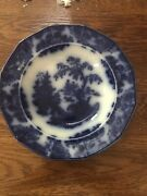 Antique Jacob Furnival And Co Shanghae Flow Blue Bowl 8 Oz Oriental Scene