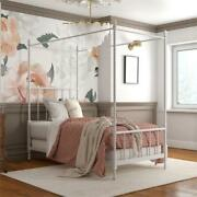 Pemberly Row Metal Canopy Bed In Twin Size Frame In White