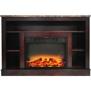 Seville Fireplace Mantel With Logs And Grate Insert - Mahogany
