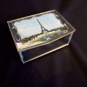 Eiffel Tower Ring Jewelry Box Vintagew Paris France Mid Century Antique French.