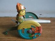 Rare Old Lever Mechanism Cannon Tin Toy Of 70and039s Working Order.