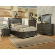 Alpine Furniture Newberry Standard King Panel Bed In Salvaged Gray