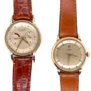 Pair Of Manand039s Vintage Watches Rare Le Coultre Futurematic And Omega Automatic 50and039s