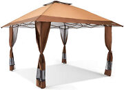 Portable Gazebo Large Canopy 12 X 12 Light Weight Yard Tent Instant Brown