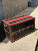 Antique Taylor Made Trunk Works Wardrobe Steamer Travel Chest 1880's