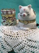 Vtg Set Of 2 Ceramic Hinged Trinket Boxes•floral Kitty Cat And Hat Box