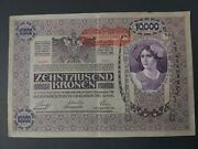 Currency Austria Hungarian Reich 1918 Wwi Banknote 10000 Kronen Circulated Used