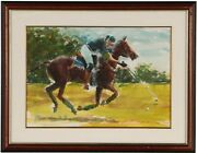 Polo Player Watercolor By Arne Westerman 1927-2017
