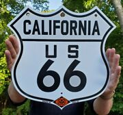 Large Old State Of California U.s. Route 66 Highway Porcelain Sign