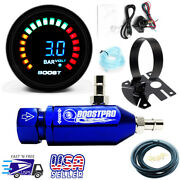Manual Boost Controller Kit Blue Turbo Mbc 0-30psi With Boost Gauge And Mount