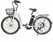2636v 10ah 350w City Electric Bicycle E-bike White With Basket 7 Speed