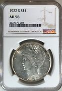 1922-s Peace Silver One Dollar Coin Certified By Ngc As Au58 511.219