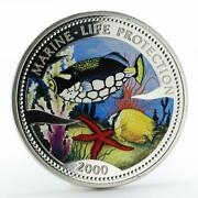 Congo 50 Francs Fish Marine Life Protection Colored Proof Silver Coin 2000