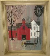 Vintage P Buckley Moss School 'children And Wagon At Red Barn' Landscape Painting