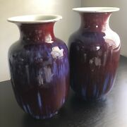 20th C Pair Chinese Jingdezhen Flambe Oxblood Red Porcelain Vases Sang De Beouf