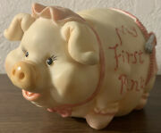 Beautiful Vintage Pig Bank My First Bank Toy Piggy Made Of Plastic 10.6 Ounces