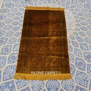 Yilong 2and039x3and039 Golden Handknotted Silk Four Seasons Rug Antique Carpet Tj075h