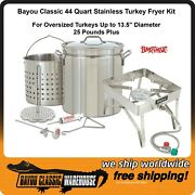 Big Oversized Turkey Fryer Complete Stainless Steel Kit 25+ Lb Bayou Classic